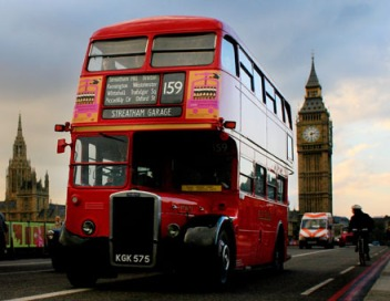Routemaster bus on route 159 drives over Westminster Bridge in London